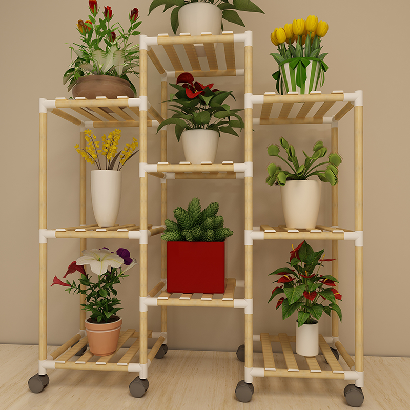 Wood Simplicity Modern Living Room Balcony Multi-storey Flower Rack Woodiness Landing Type Flowerpot Province Space