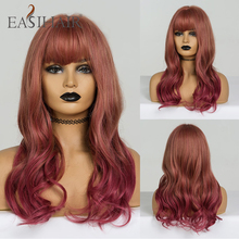 Easihair médio escuro vermelho ombre onda perucas com franja perucas sintéticas para preto afro ondulado peruca cosplay resistente ao calor