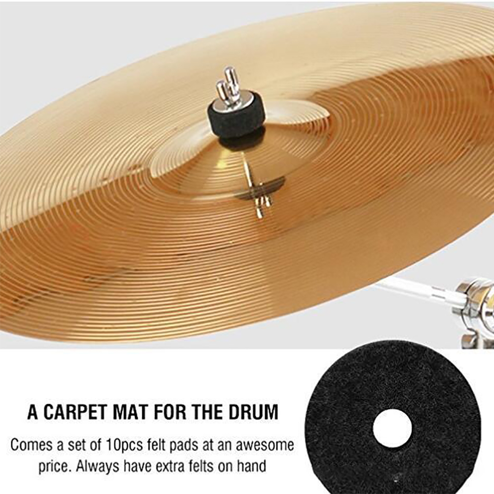 <font><b>10</b></font> Pcs Protective Universal Cymbal Round <font><b>Felt</b></font> Washer Drum Parts Durable Accessories Stand Solid Replacement Anti Friction image