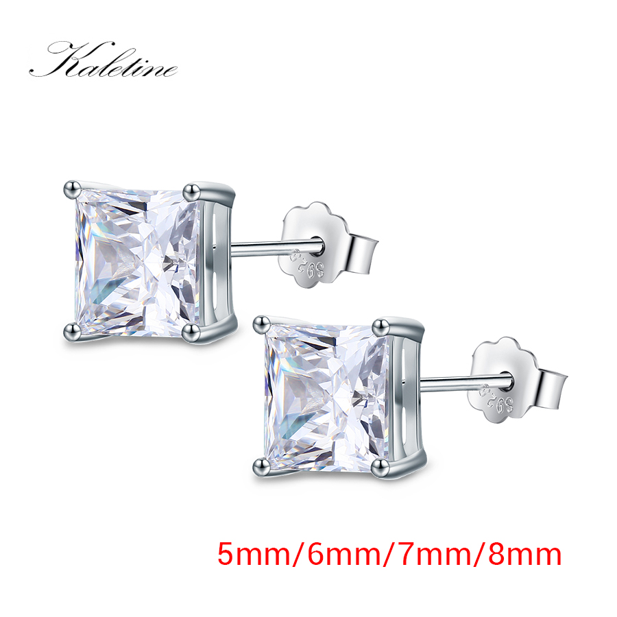 Stainless Steel Polished 6mm Black Princess Square CZ Stud Post Earrings