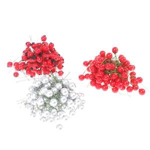 100 Pcs Dekorative Mini Weihnachten Frosted Künstliche Berry Lebendige Rot Holly Berry Holly Beeren Home GarlandBeautiful
