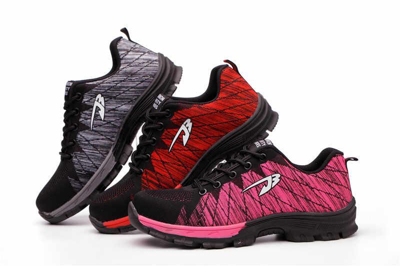 ROXDIA marka çelik toecap kadın erkek çalışma ve güvenlik botları çelik orta taban darbeye dayanıklı yumuşak erkek ayakkabı artı boyutu 39-48 RXM106