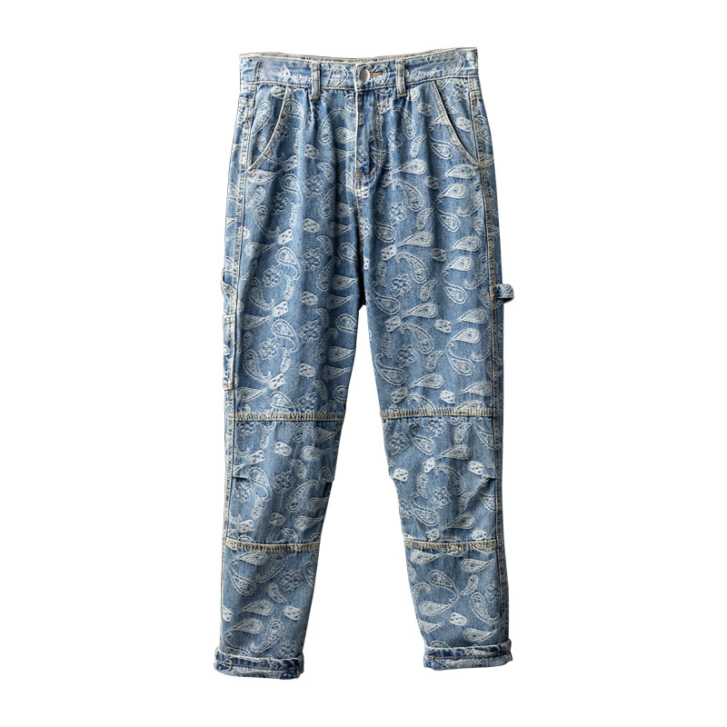 Mcikkny Men Hip Hop Printed Jeans Pants Fashion Loose Casual Denim Trousers Couples Streetwear Pants (1)