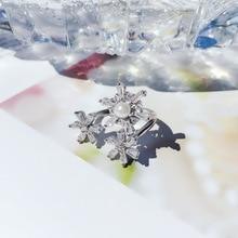 Fashion Silver Ring Micro-inlaid Zircon Opening Ring for Women Personality Flower Shape Rings trend Jewelry Gift цена в Москве и Питере