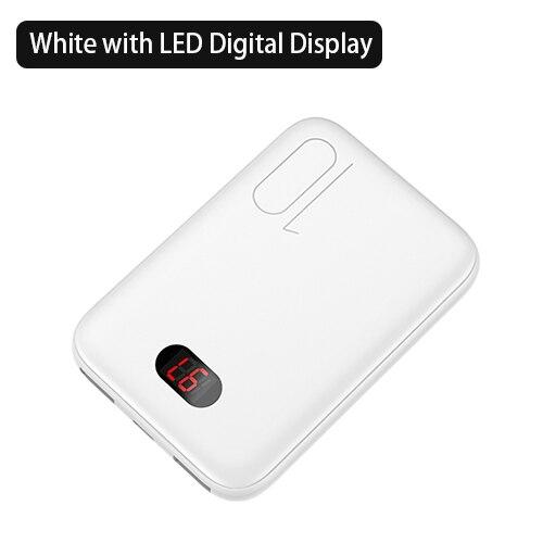 Мощность банка для xiaomi mi iPhone USAMS Мощность банк mi ni 10000 мАч светодио дный Дисплей Dual USB Мощность Bank внешняя Батарея Быстрая зарядка - Цвет: White with LED