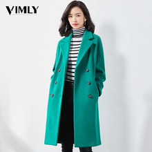 Vimly Woman Elegant Winter Wool Long Coat Warm Solid Office Ladies Green Red Women Outwear Casual Dro[ Shoulder Blend Coat(China)