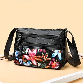 2020 Women Genuine Leather Shoulder Bags Female  Crossbody For Ladies Designer Flower Handbag