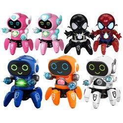 Новейший танцевальный робот Железный человек паук светодиодная музыкальная вспышка Мстители герой Электрический робот Детские обучающие ...