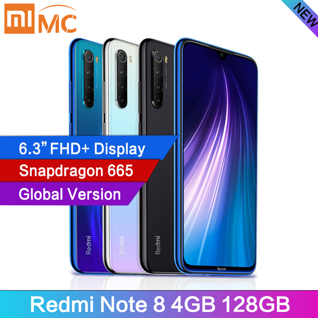 "Version mondiale Xiaomi Redmi Note 8 48MP 4 caméras 4 go RAM 128 go Smartphone Snapdragon 665 Octa Core 6.3 ""FHD écran téléphone portable"
