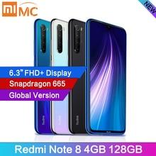 """הגלובלי גרסת Xiaomi Redmi הערה 8 48MP 4 מצלמות 4GB RAM 128GB Smartphone Snapdragon 665 אוקטה Core 6.3 """"FHD מסך טלפון נייד"""
