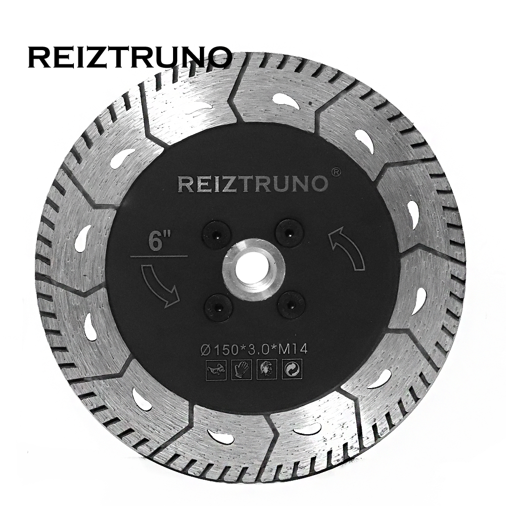 REIZTRUNO 150mm Dual Turbo Circular Saw Cutter Diamond Grinding Wheel Angle Grinder Saw Blades For Granite Concrete With Flange