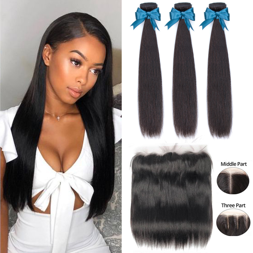 Beaudiva Brazilian Straight Hair Weave Bundles With Frontal Closure Lace Frontal With Bundles Human Hair Innrech Market.com