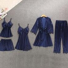 Women Pajamas 5 Pieces Satin Sleepwear Faux Silk Home Wear Home Clothing Embroidery Sleep
