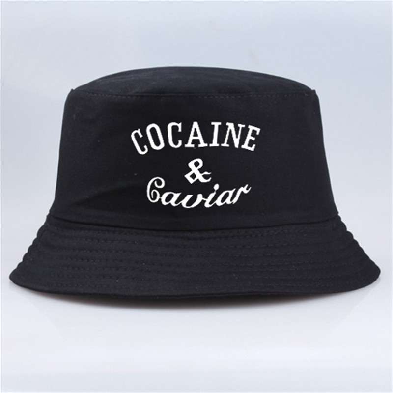 Fashion Cotton Bucket Hat COCAIN & CAVIAR Letter Unisex Sunscreen Caps Sun Hats Fisherman Cap Boonie Gorras Casquette Bone Pesca