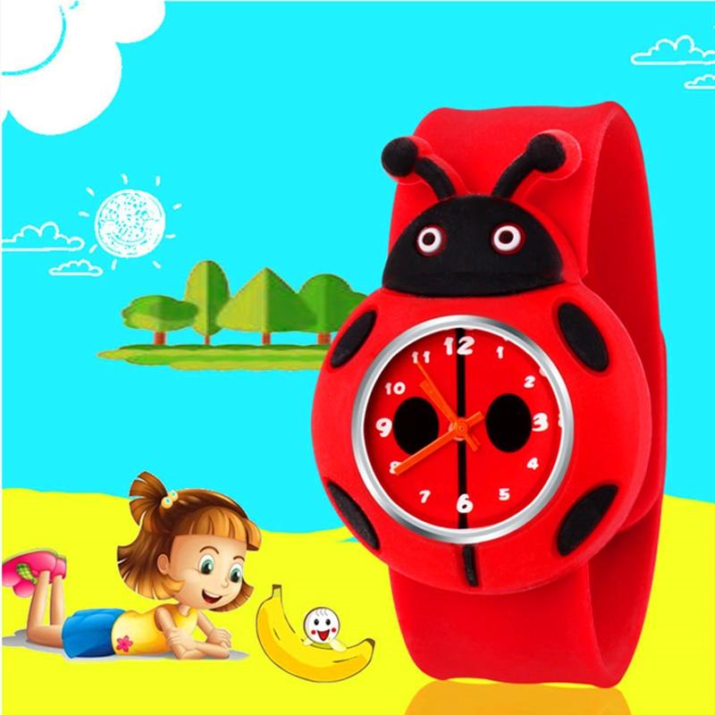 Ladybug Cartoon Pattern Children Watches For Girls Gifts Silicone Strap Kids Watch Child Students Quartz Wristwatch Boys Clock