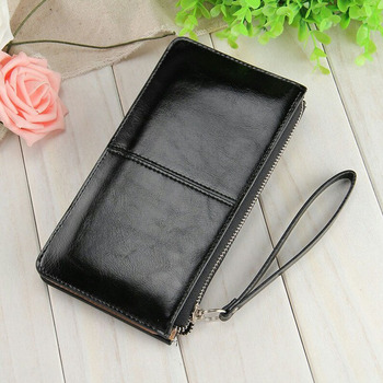 Fashion Capacious Leather Women's Wallet Bags and Wallets Hot Promotions New Arrivals Women's Wallets Color: Black