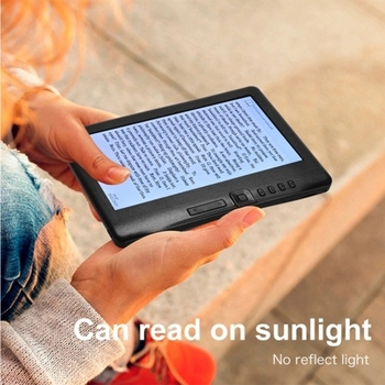 Portable 7 Inch 800 x 480P E-Reader Color Screen Glare-Free Built-In 4GB Memory Storage Backlight Battery Support Photo Viewing/