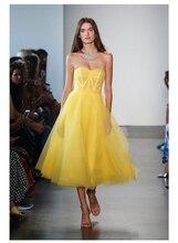 Простое Вечернее Платье Короткое Формальное Платье Вечеринка Платье Желтый Органза и Тюль Выпускной Платья Abiye Gece Elbisesi