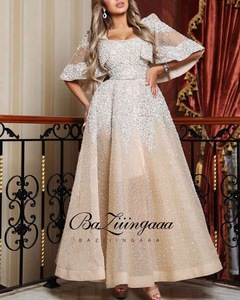 BAZIIINGAAA Luxury 2020 Party Elegant Woman Evening Gown Plus Size Slim Printed Long Evening Dresses Suitable for Formal Parties