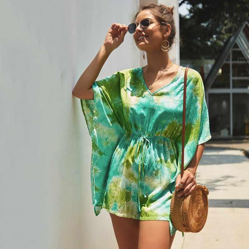 Женские летние Бохо с цветочным принтом Комбинезоны модные зашнуровать v-образным вырезом с коротким рукавом повседневные Комбинезоны с завышенной талией одежда