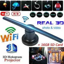 Wifi 3D Hologram Projector Fan LED Holographic Imaging Display Lamp 3D Remote Advertising Projection Display Light With 16G TF