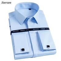 High Quality Men French Cufflinks Shirt Slim Fit Cotton Shirt Men Long Sleeve Business Suits Wedding Party Free Lroning Shirts