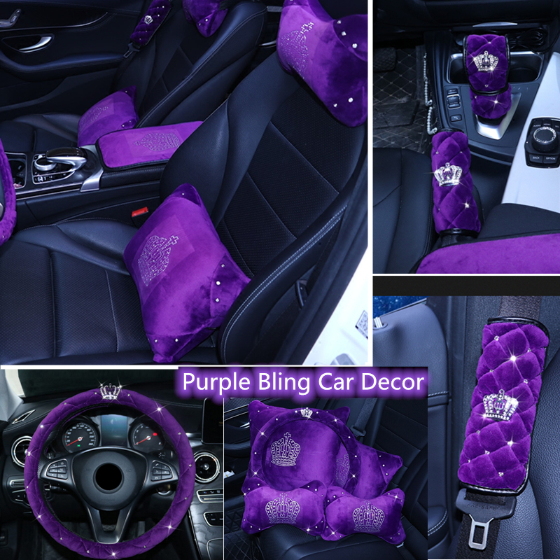 purple car accessories sparkle auto seat cover universal cushion front rear full set crystal f Crown noble design
