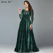 Дубай великолепный дизайн; цвет красного вина вечерние платья с v-образным вырезом с длинным рукавом и отделкой из бус расшитые блестками вечерние платья Serene Hill LA60903