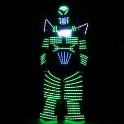 4 צבעים אורות LED רובוטים, LED תלבושות רובוטים מואר בגדים עם לייזר כפפות שלט רחוק ריקוד מוסיקה DJ להראות