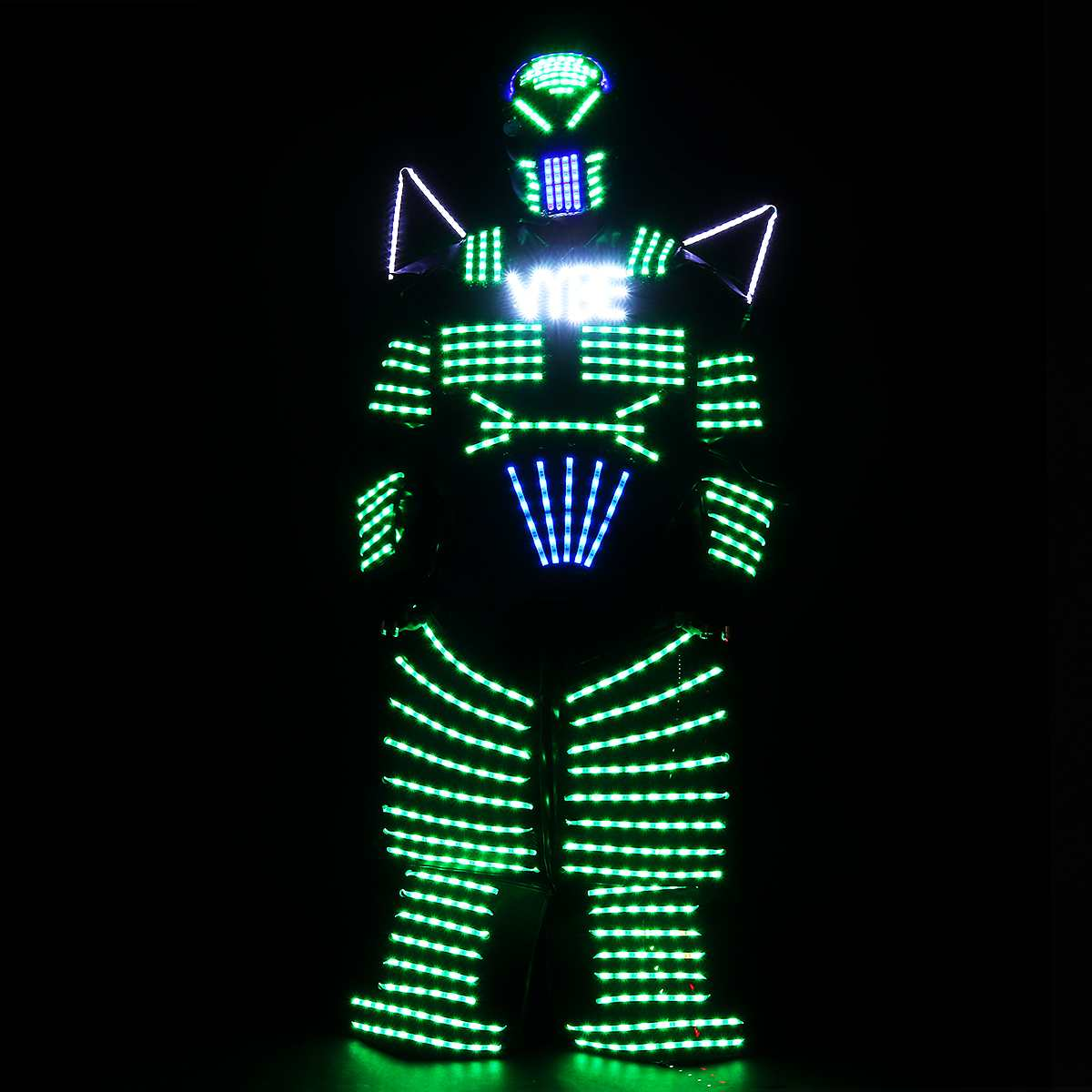4 Colors Lights LED Robots Costumes, LED Costume Robots Illuminated Clothes With Laser Gloves Remote Control Dance Music DJ Show