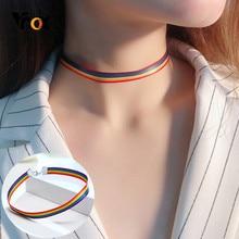 Vnox – collier ras du cou tissé couleur arc-en-ciel pour femmes, accessoires de fête de rue