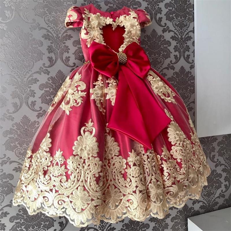 Girls Lace flower Princess Dress Birthday Party Vestidos Kids Christmas Dress Children Elegant Wedding Ball Gown Xmas Clothing 1