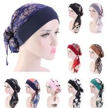 ผู้หญิงพิมพ์หมวก Turban Chemo มะเร็งหมวก Bonnet HEAD Wrap ผ้าพันคอมุสลิม Hijab หมวกผมร่วงหมวกอิสลาม Turban Chemo มะเร็งหมวก