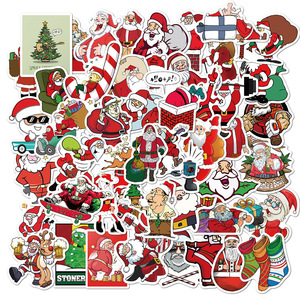 50 PCS Merry Christmas Stickers Gifts for Kids Santa Claus Decal Xmas Tree Cute Sticker Decor Scrapbook Laptop Skateboard Guitar