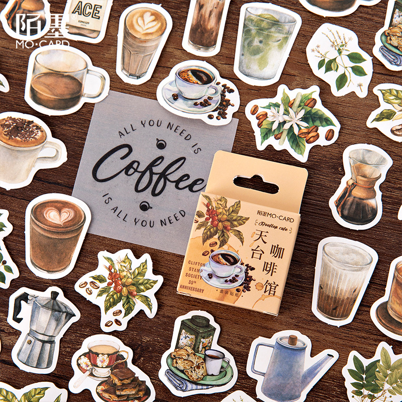 44Pcs Coffee Cafe Stickers Scrapbooking Kawaii DIY Diary Bullet Journal Decorative Adhesive Paper Seal Label Stationery Supplies