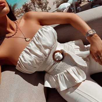 цена Beyouare Ruffle Strapless Blouse Sashes Slim Waist Asymmetric Hem Holiday Casual Elegant Blouse Belt Solid Shirt Summer Blouse онлайн в 2017 году
