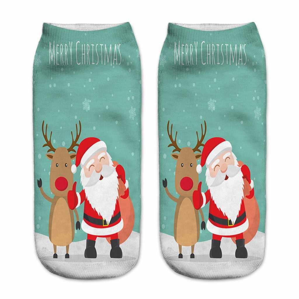 Meias de natal das mulheres Harajuku Unisex Engraçado 3D Natal Impresso Bonito Casual Low Cut Tornozelo dos homens bonito meias calcetines mujer