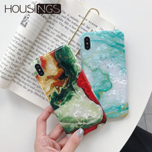Colorful Marble Phone Case For iPhone 7 8 Plus Glitter Pattern Cover XR XS Max Soft TPU 6