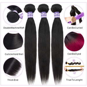Image 2 - Straight Bundles With Frontal Closure Brazilian Human Hair Pre Plucked 13x4 Lace Frontal Closure With Bundles Non Remy