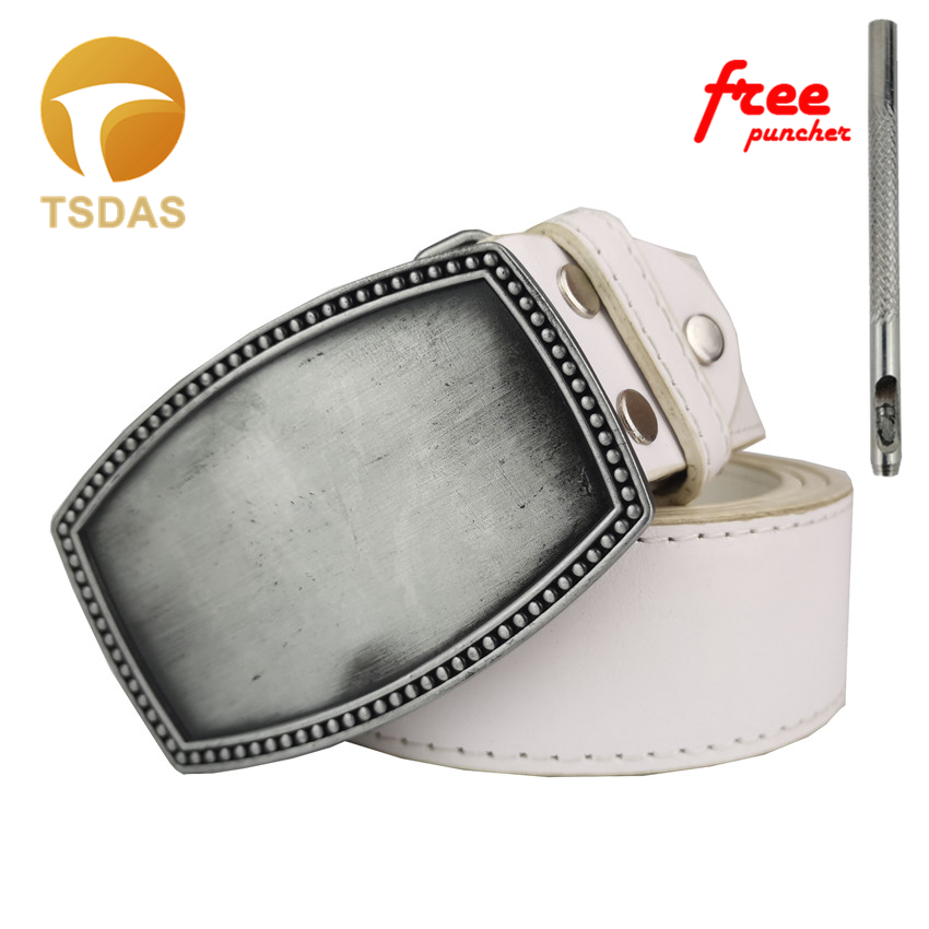 Rectangle Blank Belt Buckle -Add Your Own Design-Custom DIY Belt Buckle In Silver Plating Come With Belt