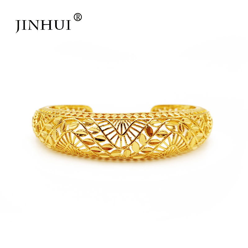 Jin Hui New Fashion lady Luxury Gold Color Jewelry adjustable Bangles Ethiopian African Women Dubai Bracelet Party wedding Gifts