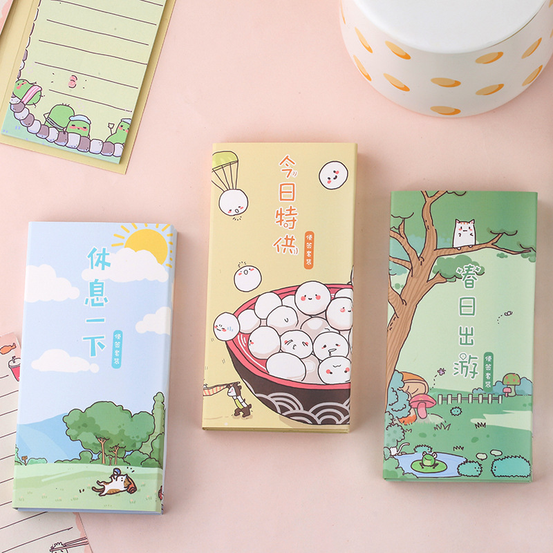 Kawaii Cartoon Animals Memo Pad Cute Stationery Diary Diy Sticky Notes 4 Folding Portable Notepad School Office Supply