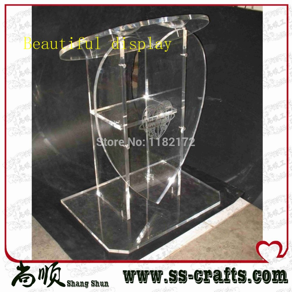 Free Shipping Clear Clear Heart Shape Acrylic Podium Lectern