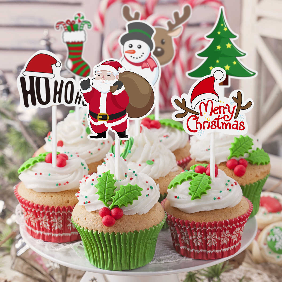 Amosfun 72PCS Christmas Cupcake Toppers Santa Claus Tree Snowman ถุงเท้า Candy Theme PARTY เค้ก Toppers Picks อุปกรณ์ตกแต่ง