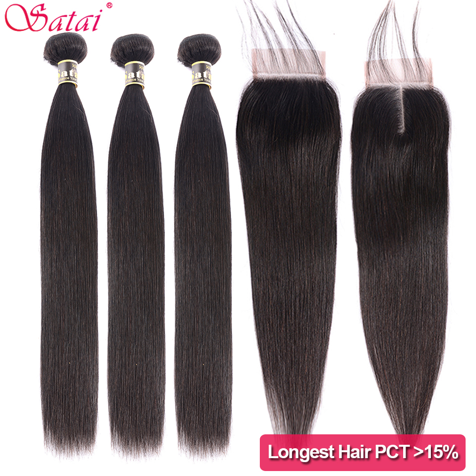 Satai Straight 3 Bundles With Closure M Remy Brazilian Hair 30 32 34 Inch Human Hair Bundles With Transparent Lace Closure