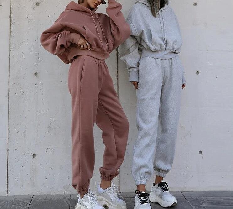 Novo 2021 roupas femininas outono inverno agasalho oversiz moletom com capuz e calças casuais esporte terno 2 peça qualidade atualizar