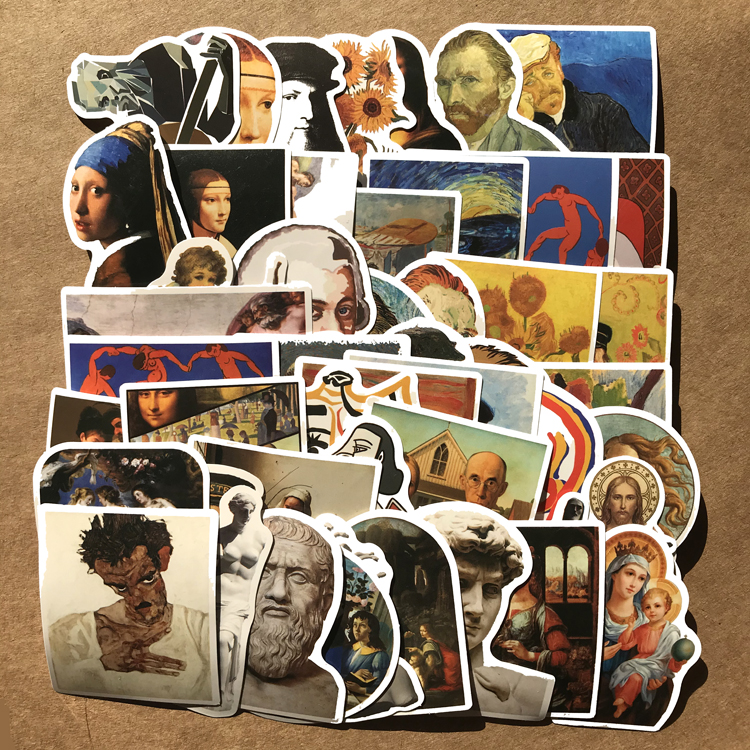50 Artist David Statue Waterproof PVC Personality Notebook Skateboard Stickers Foreign Trade Graffiti Car Stickers