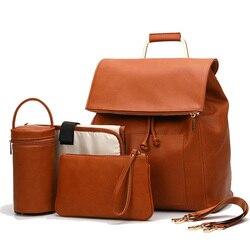 PU Leder Baby Windel Tasche Rucksack + Ändern Pad + Kinderwagen Riemen + Isolierung tasche + Kosmetik tasche
