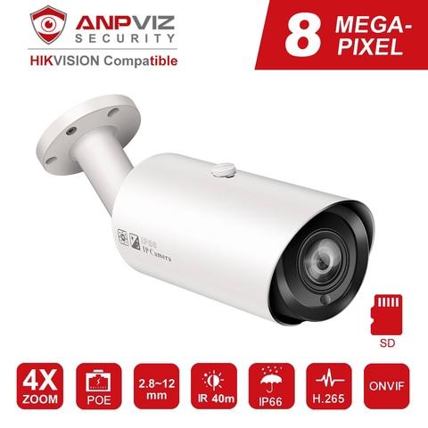 hikvision compativel 4 k poe camera ip 8mp ao ar livre vari foco 2 8