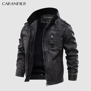 CARANFIER Mens Leather Jackets Stand Collar Zipper  1